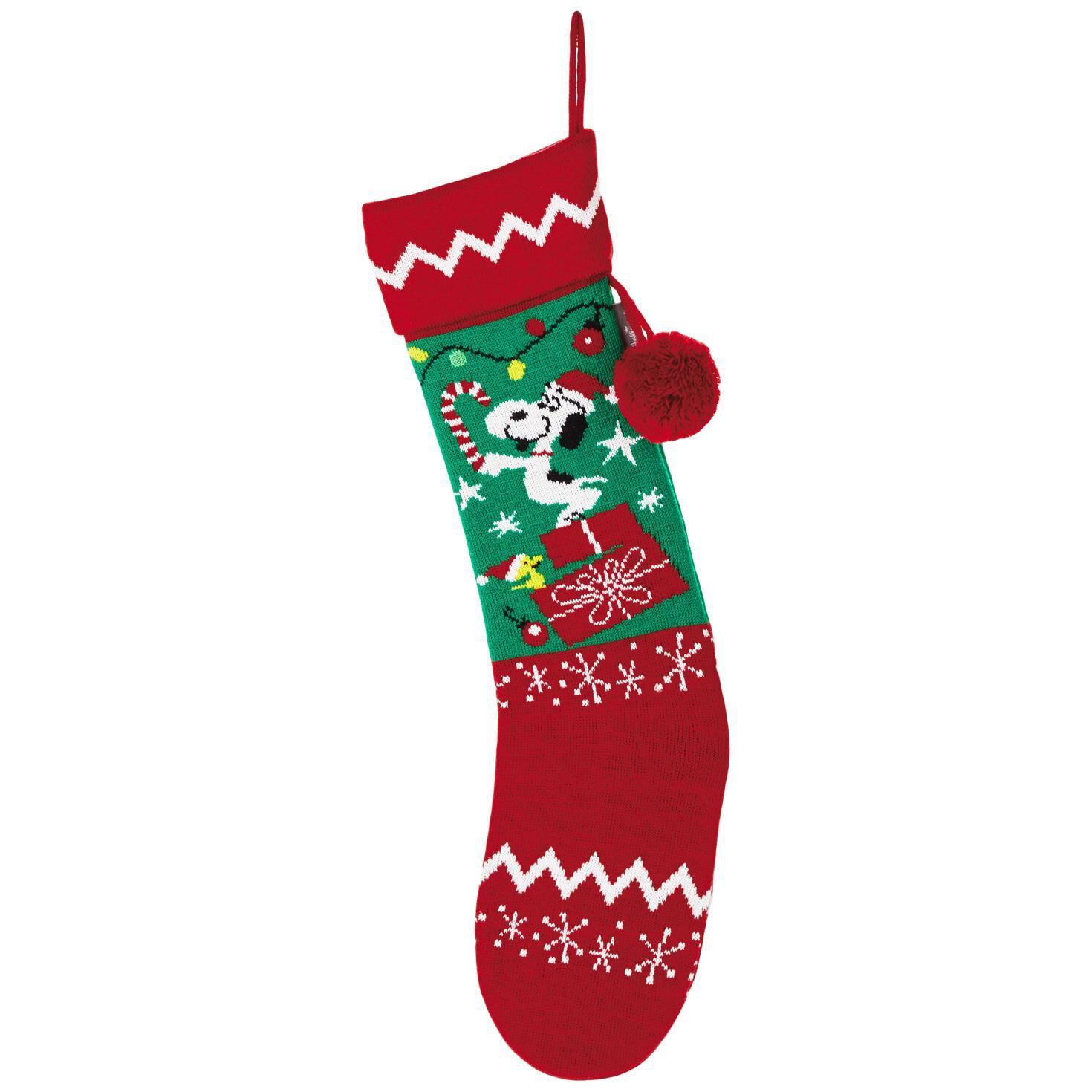 peanuts snoopy knit christmas stocking decorative accessories hallmark - Snoopy Christmas Stocking