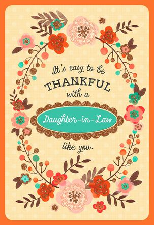 Floral Wreath Thanksgiving Card with Customizable Female Relative Stickers
