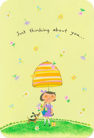 Girl and Dog With Umbrella Religious Thinking of You Card