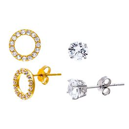 Circle Stud Earring Set in Sterling Silver & Yellow Gold-Plate, Set of 2, , large