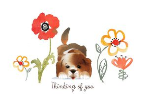 Puppy and Flowers Friendship Card
