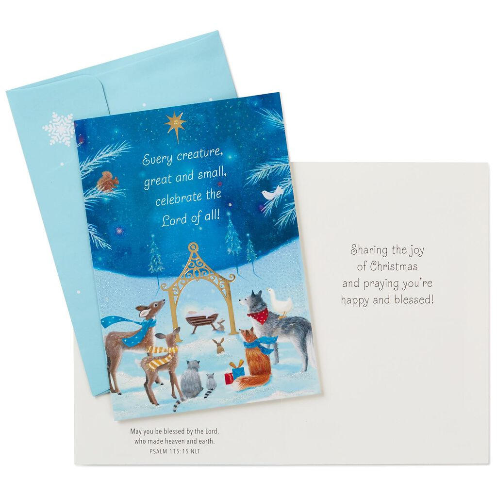 Baby Jesus With Forest Animals Religious Christmas Cards, Box of 16 ...