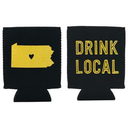 """Pennsylvania State Silhouette """"Drink Local"""" Koozie, , large"""