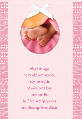 a9c7f3b2e85dd Tiny Blessings Religious New Baby Girl Card