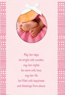 Tiny Blessings Religious New Baby Girl Card,
