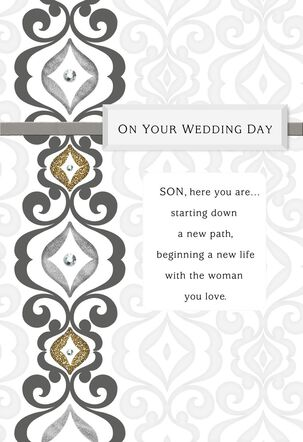 Silver and Gold Wedding Card for Son From Both