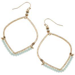 Aqua Beaded Hoop Earrings, , large