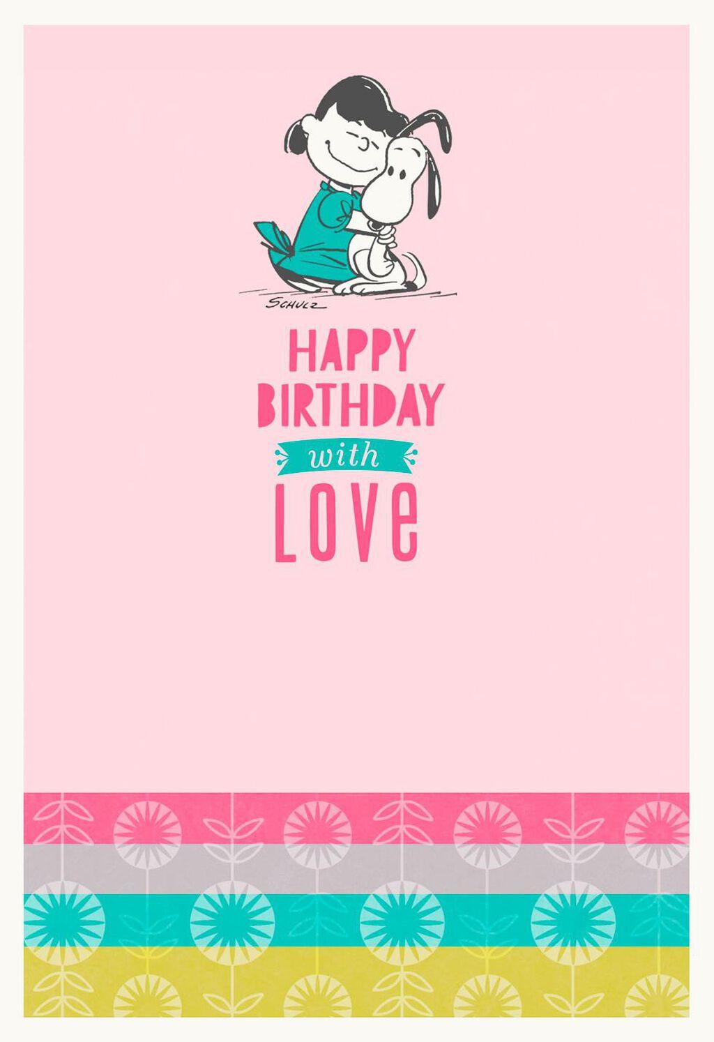 PeanutsR Snoopy And Lucy Hug Birthday Card