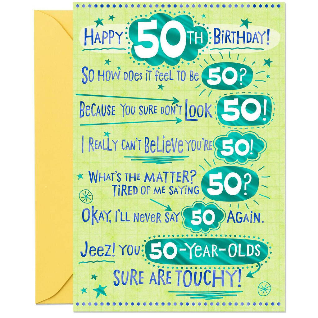 How Does It Feel Funny 50th Birthday Card
