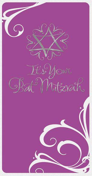 Purple and Silver Star of David Bat Mitzvah Money Holder Card