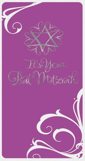 Purple and Silver Star of David Bat Mitzvah Money Holder Card,