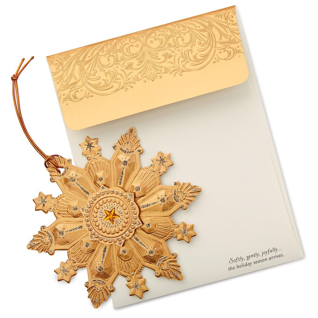 Laser-Cut Copper Snowflake Christmas Cards, Box of 12 - Boxed Cards ...
