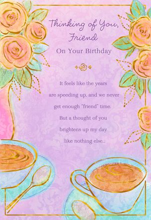 Teacups and Flowers Birthday Card for Friend