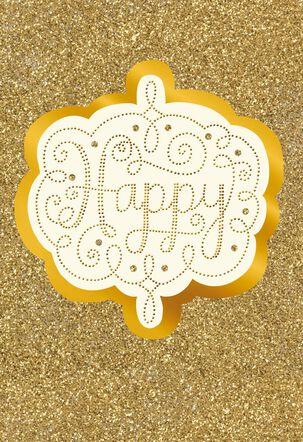 Happy Fun Gold and Glittery New Year Card