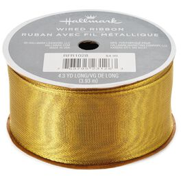 """Gold Fabric 1.5"""" Wired Ribbon, 4 yds., , large"""