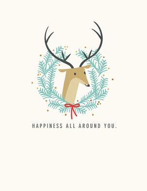 Deer Wreath Happiness All Around Christmas Card
