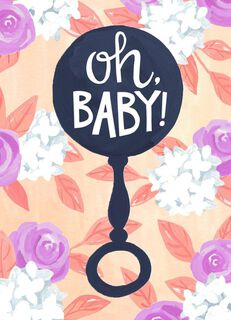 Baby Rattle With Flowers New Baby Congratulations Card,