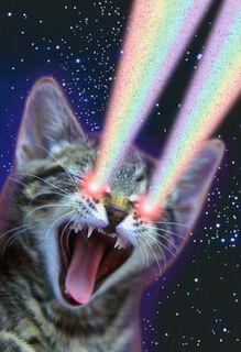 Cosmic Rainbow Powers Funny Birthday Card,