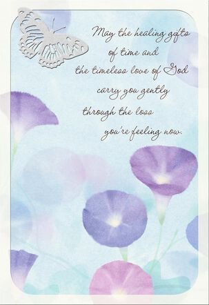Morning Glory Flowers With Butterfly Religious Sympathy Card
