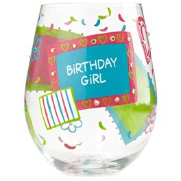 Lolita® Birthday Girl Hand-Painted Stemless Wine Glass, 20 oz., , large