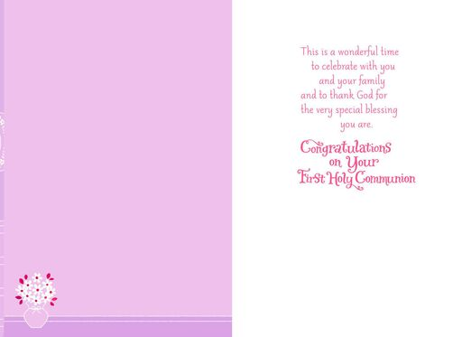 Flowery White Dress First Holy Communion Card for Goddaughter,