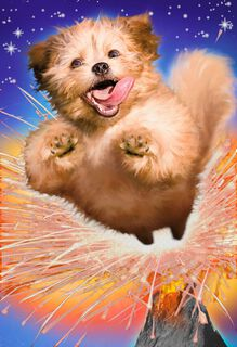Awesome Exploding Cosmic Puppy Funny Birthday Card,