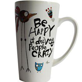 Be Happy Latte Mug, 16 oz., , large