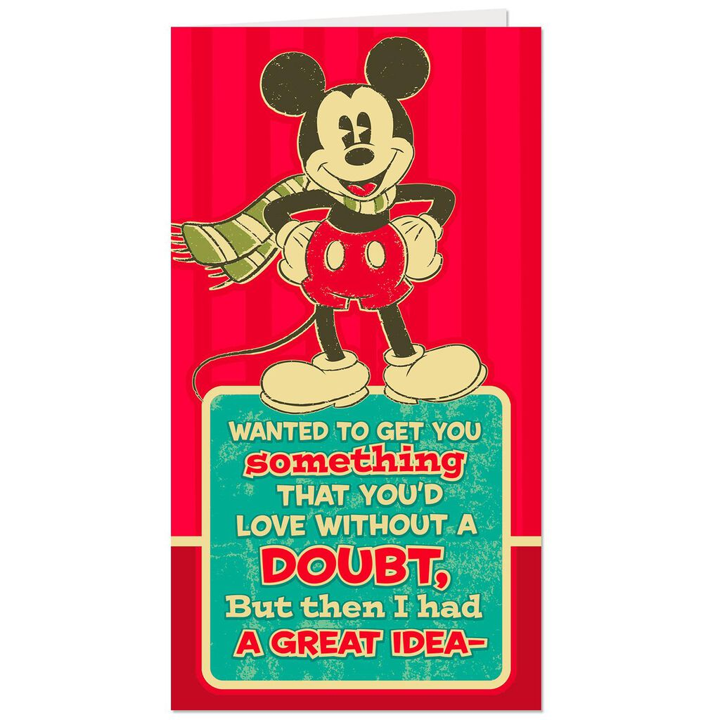 Disney Mickey Mouse in Scarf Money Holder Christmas Card - Greeting ...