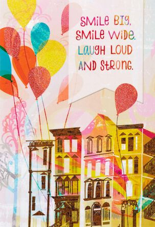 Cityscape Balloons Smile and Laugh Birthday Card