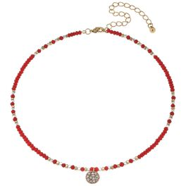 Orange Beaded Choker With Pavé Disc, , large