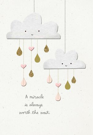 Smiling Clouds Worth the Wait New Baby Card