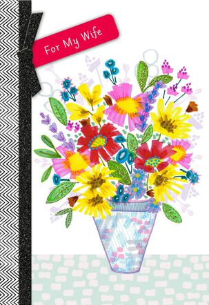 Vase of Flowers Mother's Day Card for Wife