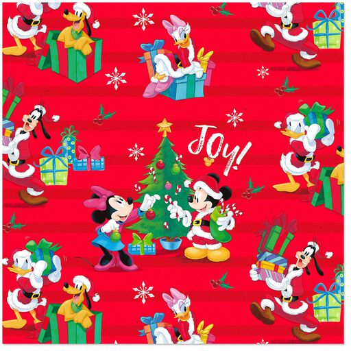 disney mickey mouse and friends on red christmas wrapping paper roll