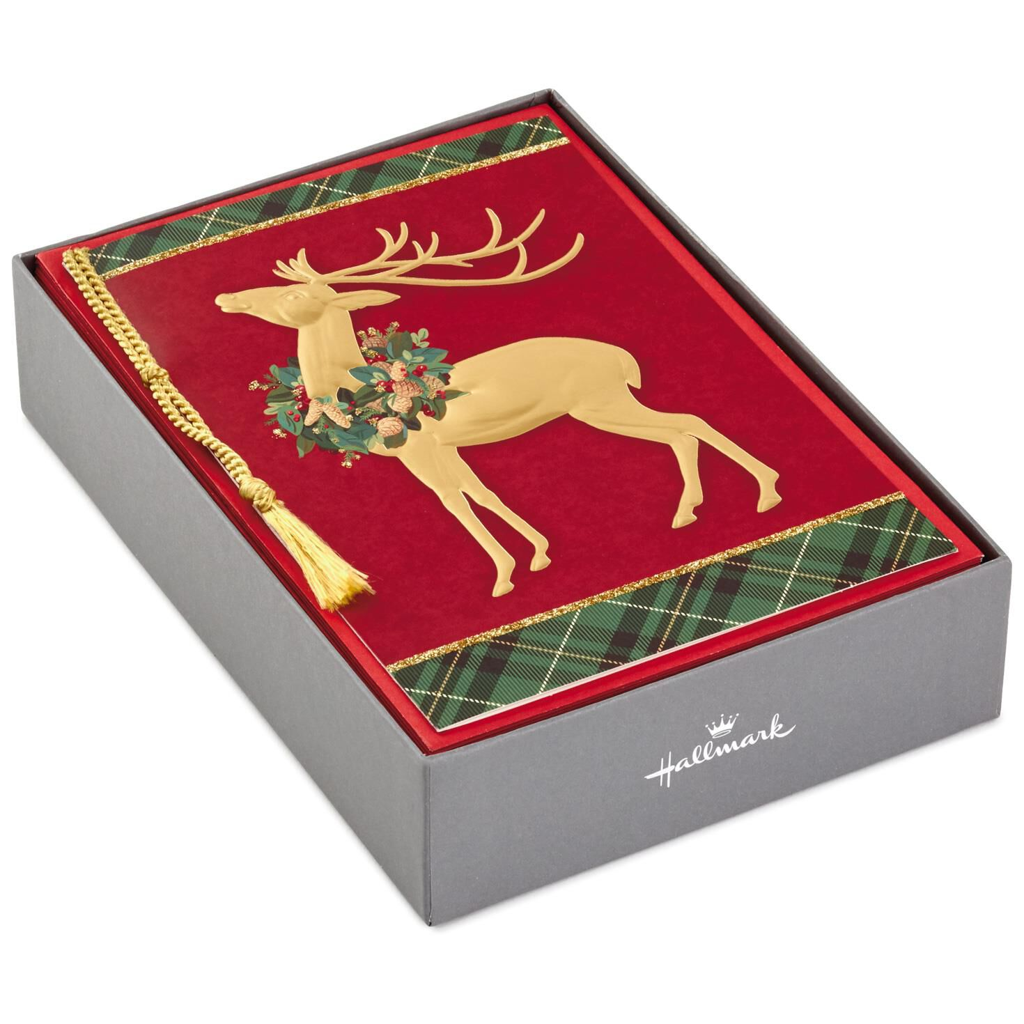Deer With Wreath on Plaid Christmas Cards, Box of 12 - Boxed Cards ...
