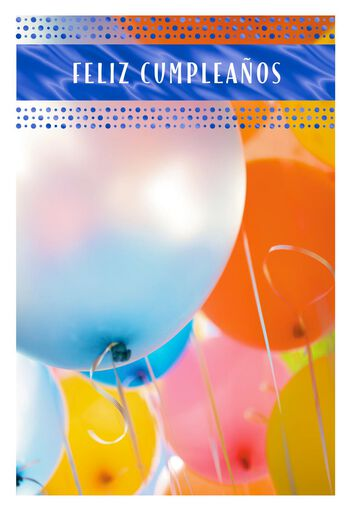 Balloons And Blessings Spanish Language Birthday Card
