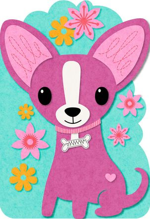 Chihuahua Felt Musical Birthday Card