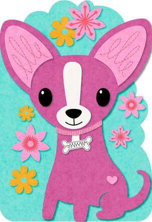 Chihuahua Felt Musical Birthday Card