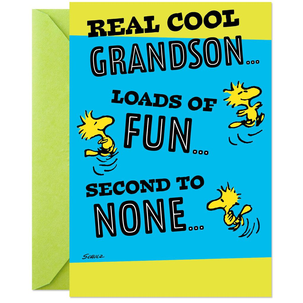 PeanutsR Snoopy And Woodstock Real Cool Grandson Pop Up Birthday Card