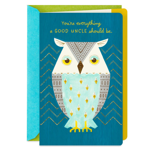 Owl For A Good Uncle Fathers Day Card