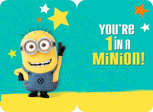 Despicable Me One In A Minion Birthday Card With Stickers