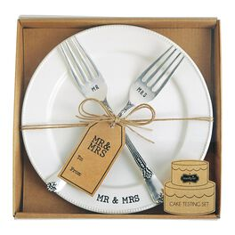 Mud Pie® Mr. & Mrs. Fork and Plate Set, , large