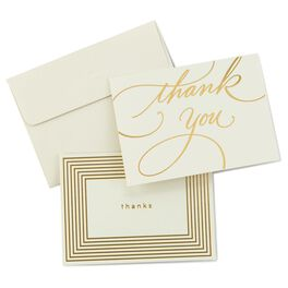 Gold Borders Thank You Notes, Box of 50, , large