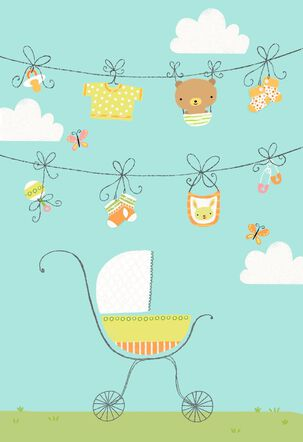 Clothesline and Baby Stroller Blank Congratulations Card
