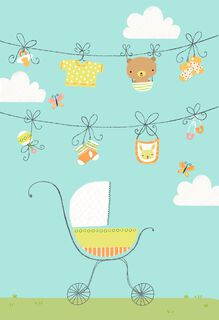 Clothesline and Baby Stroller Blank Congratulations Card,
