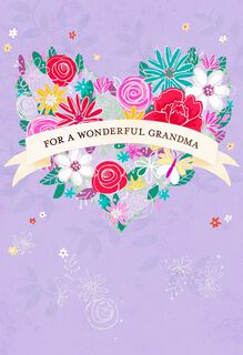 Heart-Shaped Bouquet Grandparents Day Card for Grandma,