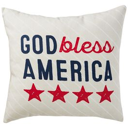 "God Bless America Patriotic Indoor/Outdoor Pillow, 16"" Square, , large"