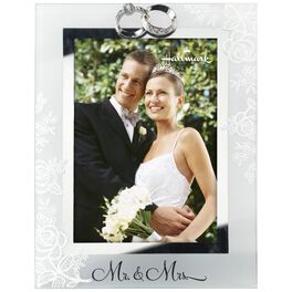 Mr and Mrs Wedding Glass Photo Frame, 5x7, , large