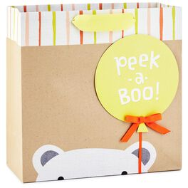 "Peekaboo Bear Large Square Gift Bag, 10.5"", , large"