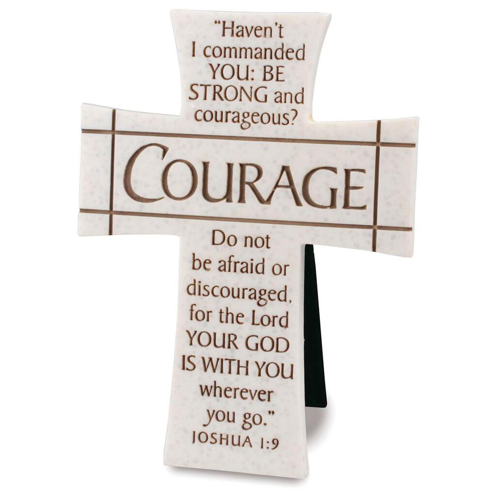 courage stone cross joshua 1 9 decorative accessories hallmark