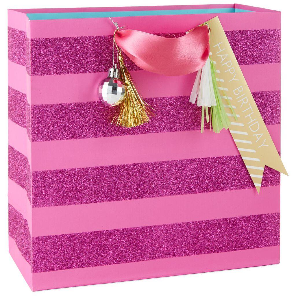 "Pink Glitter Stripes Large Square Gift Bag, 10.5"" - Gift Bags - Hallmark"